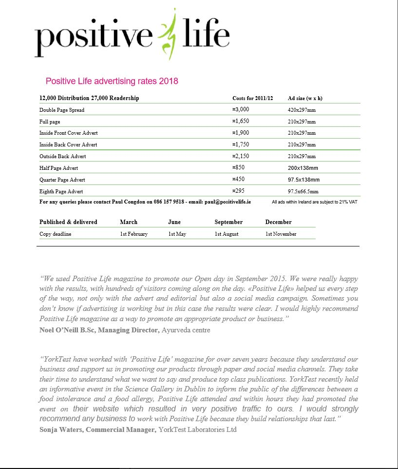 Advertising Rates 2018 Positive Life