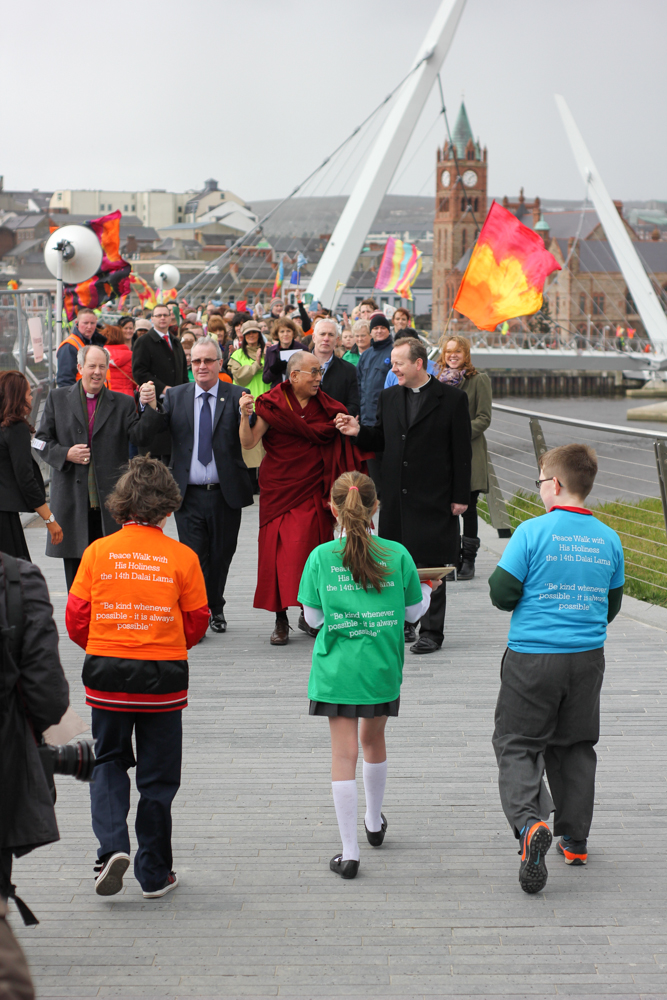 HH Dalai Lama and Richard Moore walk the Peace Bridge in Derry - City of Culture 2013 by Patrick Bridgeman © 2013