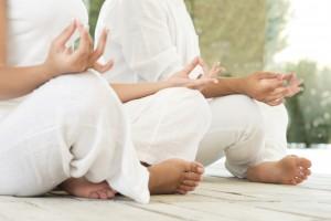Lotus pose at yoga closeup