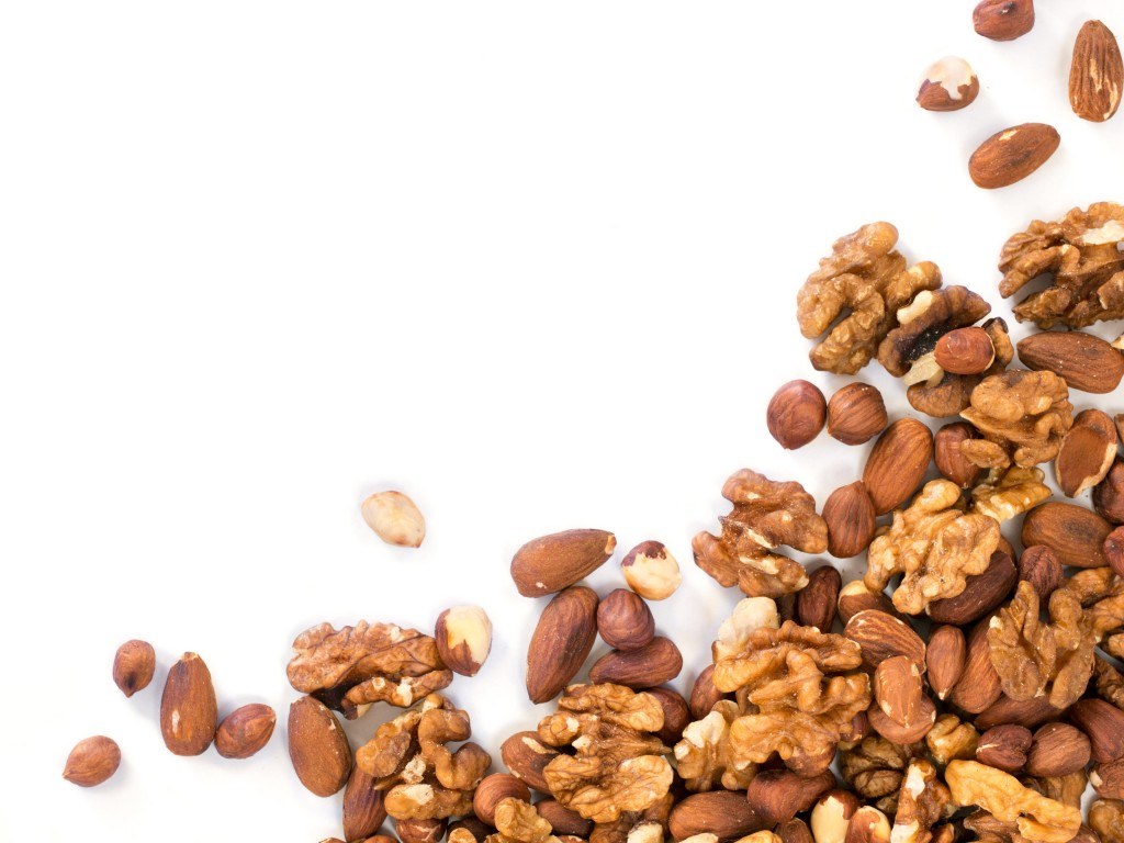 Background of mixed nuts with copy space