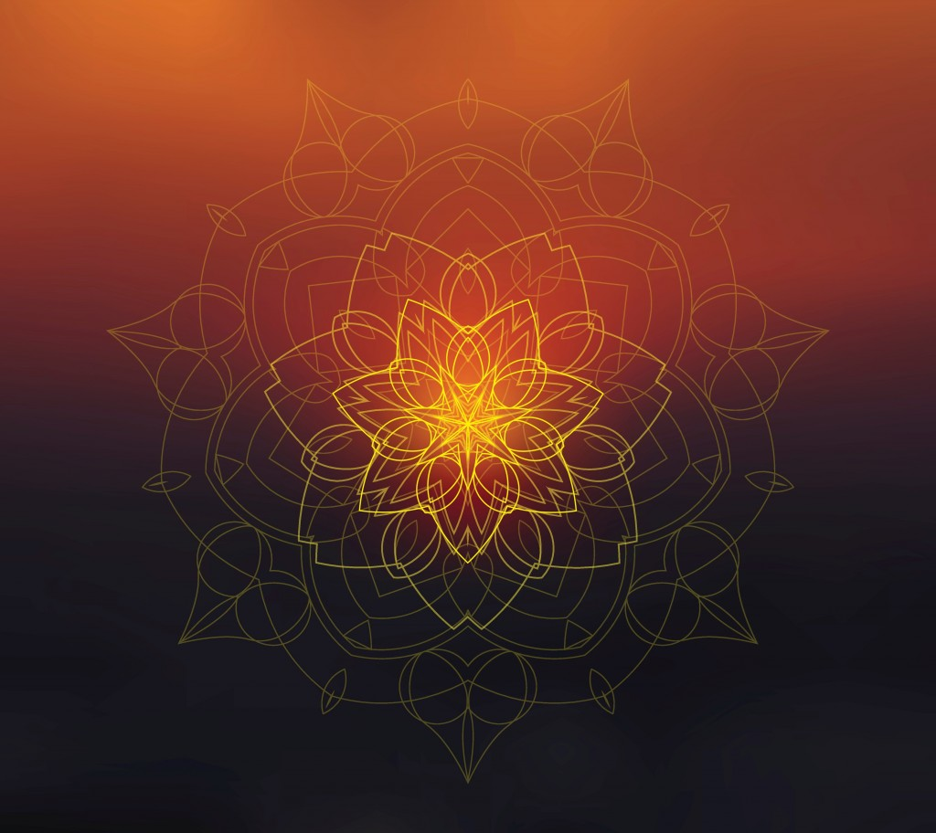 Shiny floral mandala on sunset blurred background