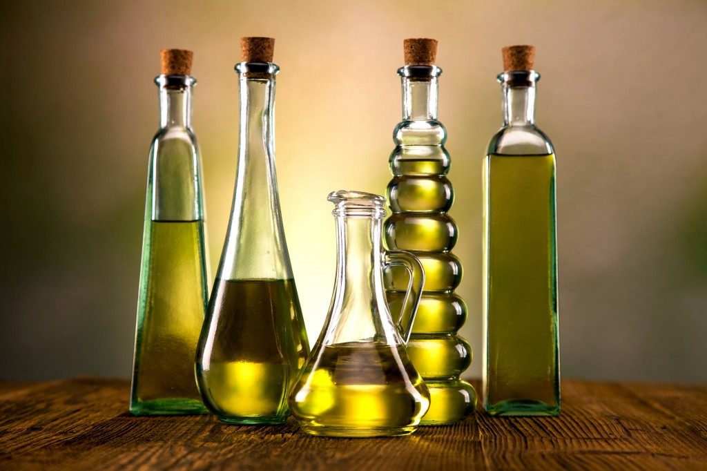 Olive oil in different shaped bottles